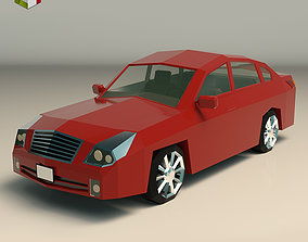 Low Poly Sedan Car 12 3D model