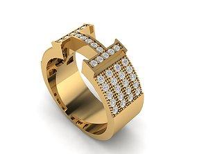 hermes 3D printable model Hermes ring h ring diamond