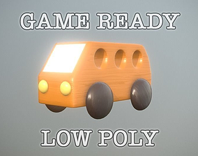 ar Wooden Toy Bus low poly game ready 3D model