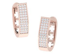 Women hoop huggie Earrings 3dm stl 1