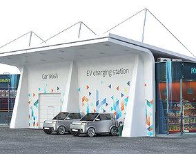 EV solar charging station 3D