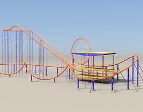 Roller coaster 3D asset