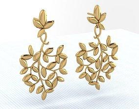 olive branch earrings 3D printable model