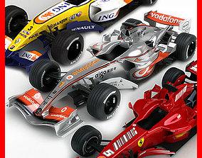 3D model F1 2007 McLaren MP4-22 Ferrari F2007 ING Renault