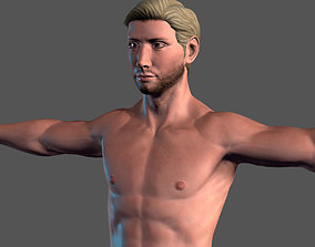 animated Animated Naked Man-Rigged 3d game character