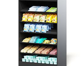Market Shelf 3D Model - Snacks market