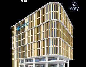 wood 3D Modern Office Building 004