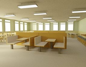 3D model Low Poly Cafeteria