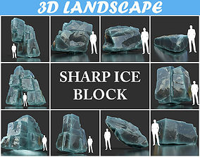 3D model Low poly Realistic Ice Cave Rock Modular