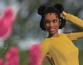 3D model Street Style Light Skin Black Teenage Girl
