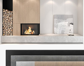 3D Fireplace and Firewood set 01