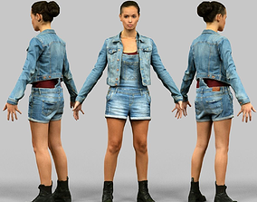 A-Pose Girl ready for rigging 3D asset