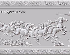 3D printable model Mural Horse wood carving file stl OBJ 4