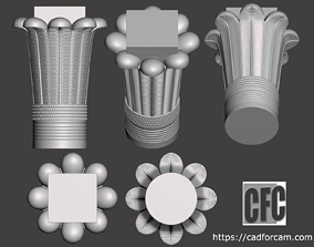 Egyptian Palm Leaf Capital - 3d model for CNC