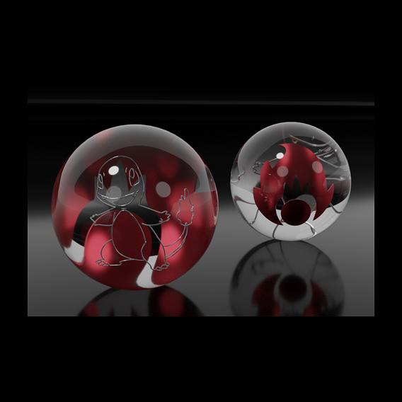 Bulbasaur & Charmander glass marbles