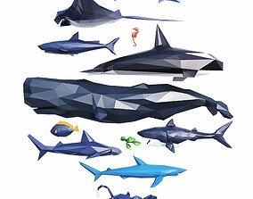 3D asset Sea Creatures Low Poly