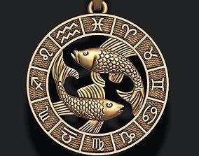 3D printable model zodiac pisces fish lite