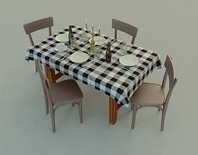 drink 3D model Table and Chairs