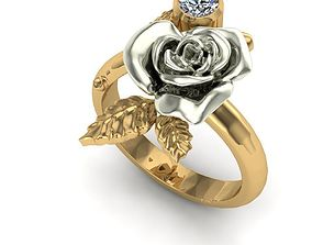 3D print model Golden ring in the form of a rose flower