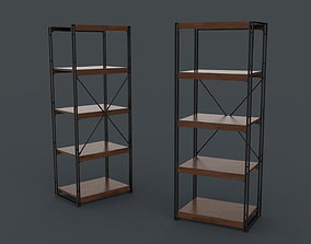 Bookcase Wooden Black and Brown 3D