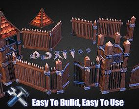 3D asset Wooden Fortress Builder Pack