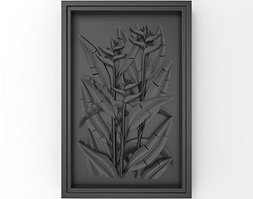 A plant in the frame bas relief for CNC 3D printable model