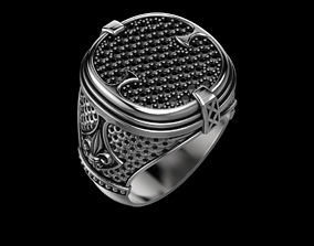 Stylish ring with patterns and diamonds 3D print model 2
