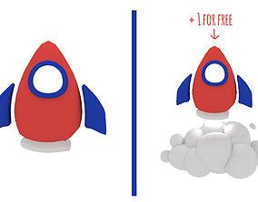 toon rocket 3D model low-poly