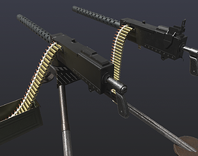 3D asset WW2 M1919 Browning Machine Gun with Attachments 1