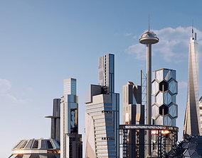 Futuristic sci-fi buildings kit 3D