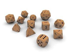 Polyhedral Dice Set - Wood 3D asset