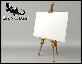 Artist easel with canvas 3D