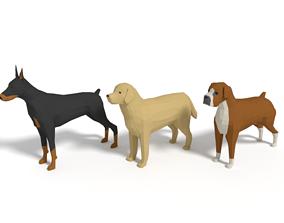 Low Poly Cartoon Dog Pack 3D