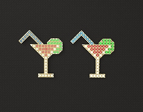 1980s style Cocktail Pendant Pin Badge 3D print model