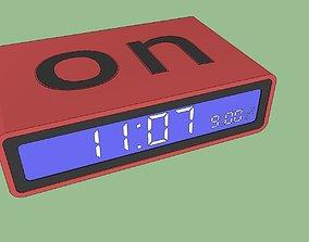 3D Lexon Flip On or off Alarm Clock Red