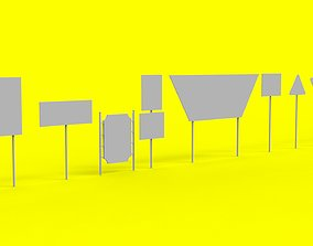 Sign boards Collection Low-poly 3D model VR / AR ready
