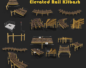 Kitbash Elevated railroad train track Chicago metro 3D