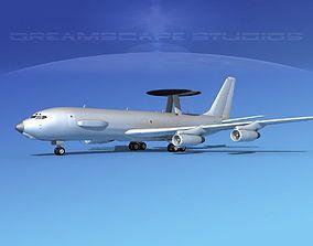 3D Boeing E-3C AWACS Bare Metal