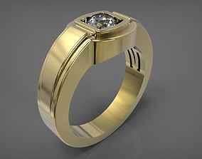 3D printable model Man ring with diamond