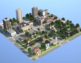 Town with suburb 3D model