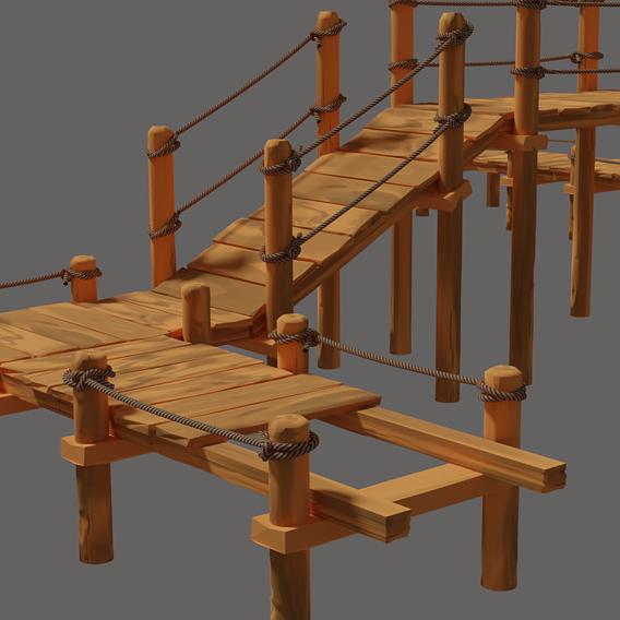 Toon Wooden Bridge Full Pack Low Poly