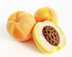 White Fuzzy Peach 3D