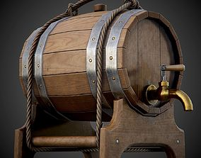 3D asset Wooden Barrel for Booze - PBR Game-Ready