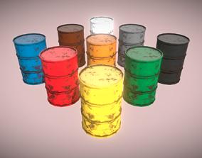 3D model 9 Color Barrels Rusty VR AR Low-Poly PBR