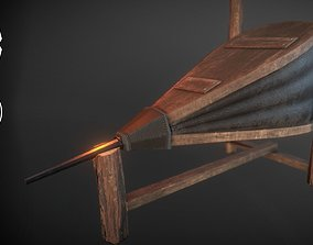 Medieval Blacksmith Bellows with holder 3D asset
