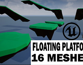 3D asset low-poly lowpoly floating platforms and islands