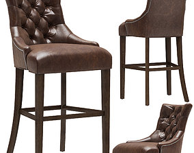 Restoration Hardware Martine Tufted Leather Stool 3D