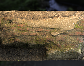 Low wall Brick Stone Mossy Ground Low-Poly 3D asset 1