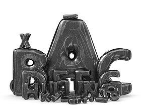 Iron Roman Alphabet 3D asset