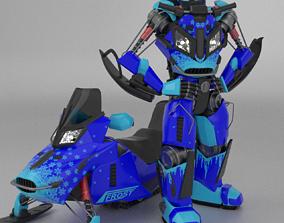 Snowmobile Transformer 3D model rigged